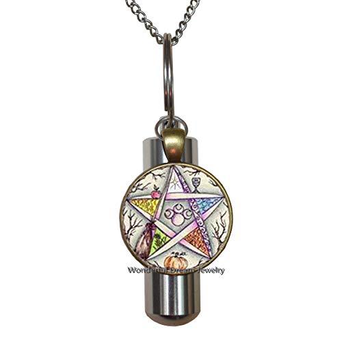 Collar de urna de cremación Pentagram, collar de urna de cremación de pentáculo, collar de urna de cremación Wicca, collar URN de cremación pagana, joyería de Wiccan, regalo pagano, joyería hecha a mano, PU084
