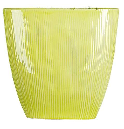 GILDE nostalgische Dekovase Bodenvase Blumenvase Pflanzschale rund, lemon, 11x32x31 cm