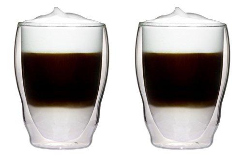 2x 460ml XXXL doppelwandige Thermogläser Wellenform mit Schwebe-Effekt für Cappuchino, Latte Macchiato, Cocktails, Tee, Säfte, Bier, Eis uvm. Aquartus von Feelino