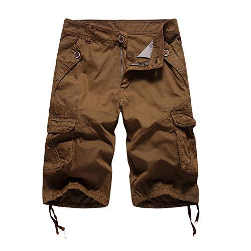Pantalones Cortos de Carga con Tendencia a la Moda para Hombre, Pantalones Cortos Deportivos de Trabajo de Combate al Aire Libre Informales con Bolsillos con Costuras de Color sólido 38
