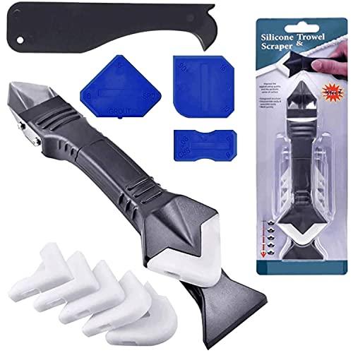 11 pezzi di strumenti per calafataggio in silicone, 3 in 1 raschietto in silicone per spatola sigillante in silicone professionale per bagno, cucina, pavimento