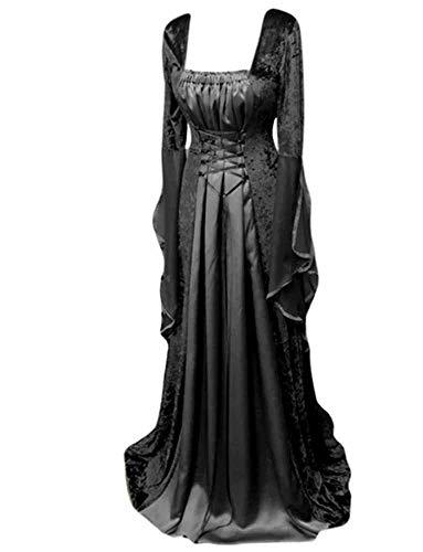 Keepmore Vestido Medieval Vintage para Mujer hasta el Suelo Vestido gótico renacentista Cosplay Vestido de Fiesta de cóctel