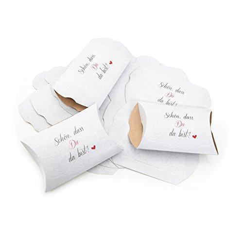 25 Stück kleine Geschenkbox Geschenkschachtel 14,5 x 10,5 + 3 cm SCHÖN DASS DU DA BIST Text Verpackung HERZ rot schwarz weiß floral Tischschmuck Hochzeits-Deko Mini-Geschenke verpacken