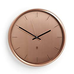 "Umbra Meta Wall Clock, Nickel Quiet, Non Ticking and Silent, Easy to Read Indoor Round Wall Clocks With Solid Metal Frame - Measures 12 ½'' by 1 ½""- Great for Home, Office, Kitchen, Bedroom"