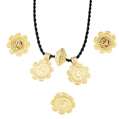 BR Gold Jewelry Äthiopische Big Coin Kreuz Anhänger Halskette Ohrring Ring Schmuck Eritrea habesha Hochzeit Schmuck