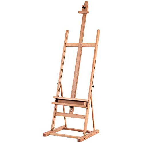 COSTWAY 2.3M Adjustable Height Wood Painting Stand, H-Frame Beech Easel...