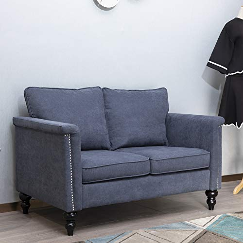 CUGBO Loveseat Sofa, Linen Futon Modern Couch for Compact Living Space Bedroom Apartment Dorm Lounge Room Office Studio, Mid-Century Recliner w Removable Cushions Armrests Wood Legs (Blue Grey)