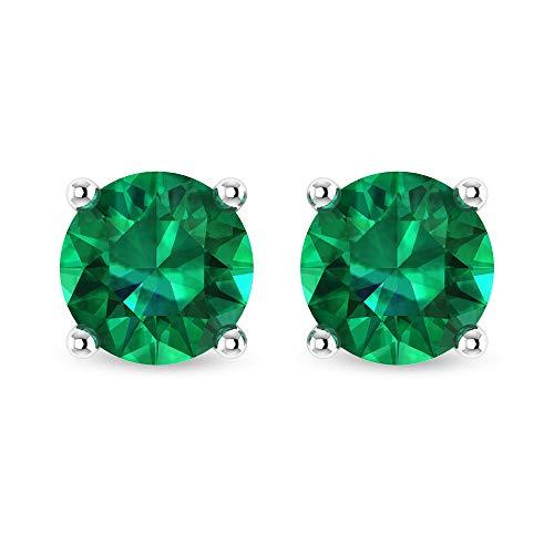 Rosec Jewels - Pendientes solitarios de esmeralda difusa de 6,00 mm, oro (calidad AAAA) tornillo hacia atrás