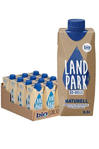 Landpark Bio-Mineralwasser Naturell | natürliches Mineralwasser aus der Bio-Quelle | natriumarm & ohne Kohlensäure | praktisch für unterwegs | stilles Wasser | 12 x 0,5 L im Tetra Pak | pfandfrei