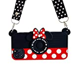 Crossbody Strap Ultra Thick Soft Silicone Case Cover for Apple iPhone 12 Pro Max Minnie Mouse Camera Shaped Walt Disney Disneyland 3D Cartoon Cute Lovely Funny Kids Girls Women