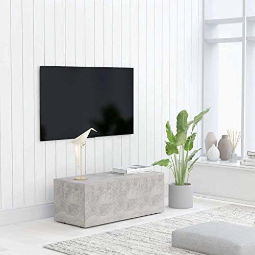 vidaXL TV Cabinet Wooden Cabinet Drawer Chest TV Bench Console Hi-Fi Stereo Stand Storage Home Indoor Living Room Furniture Concrete Gray Chipboard