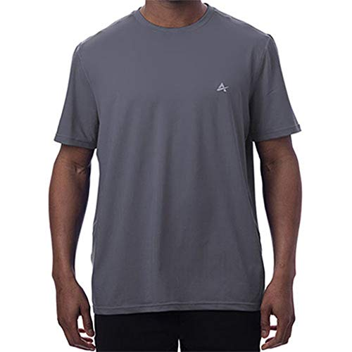 Arctic Cool Men's Crew Neck Instant Cooling Moisture Wicking Performance UPF 50+ Short Sleeve Shirt   Lightweight Breathable Tshirt for Running, Workout, Exercise, Fishing, Storm Grey, XL