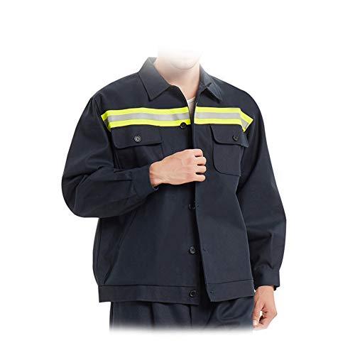 YJKJ Chaqueta de soldadura, ropa de trabajo de chaqueta, tela ignífuga transpirable cumple con el estándar nacional GB89865.1-2009 Tecnología ignífuga prevención de incendios, azul, M