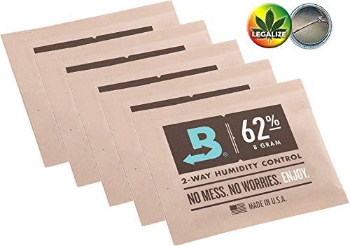 Boveda 62% 5 Beutel mit je 8g - 2-Wege-Feuchtigkeitsregler + Rasta-Button