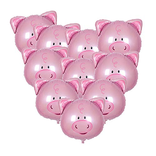 Soochat Pig Balloon Pink Pig Head Balloons Aluminium Film Balloon for Birthday Wedding Party Decorations 10 Pcs