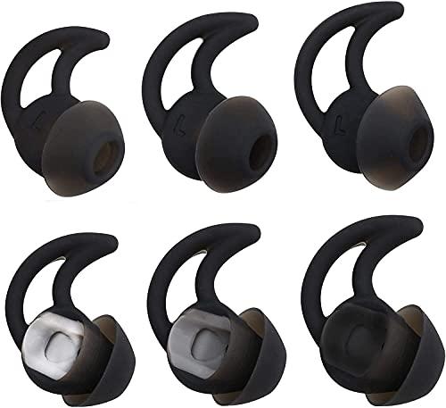 Adhiper QC20 - Auriculares de Silicona de Doble Brida con cancelación de Ruido compatibles con Bose QuietControl 30 QC20 QC20i QC30 Soundsport Free SIE2 IE2 IE3 Auriculares inalámbricos (Negro)