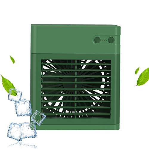 LLC-POWER Portable Air-Conditioning Fan, 3 In 1 Rechargeable Small 3-Speed Silent Air Cooling Fan, With Humidification, Atomization And Filtration, Suitable For Home, Office, Bedroom,Green