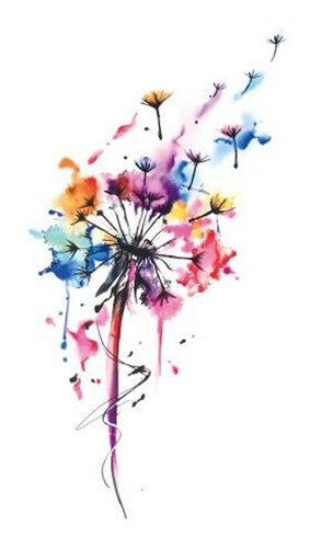 SanerLian Set of 5 Waterproof Temporary Fake Tattoo Stickers Watercolor Pink Blue Dandelion