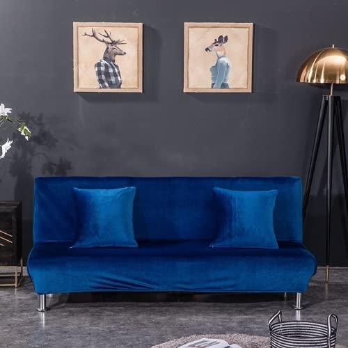 HOMEJYMADE Funda para sofá de futón grueso de terciopelo, funda elástica de lujo para sofá de cama plegable, color azul real, L: 195 – 225 cm