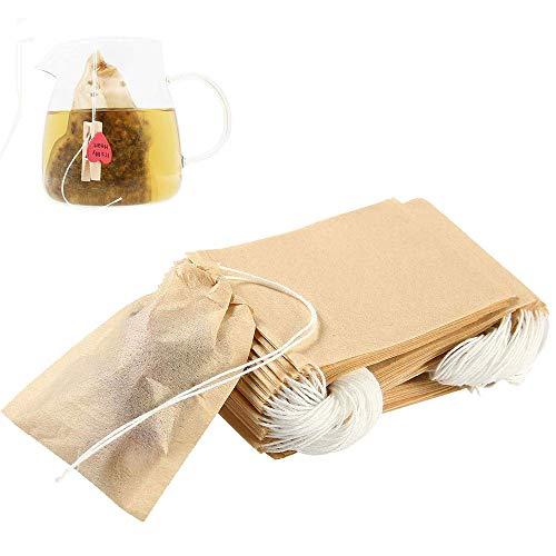 HAPPY FINDING 300 Stücke Einweg Teebeutel, Feine Teefilter für lose Blatt Tee und Kaffee Kordelzug, Teabag aus Papier