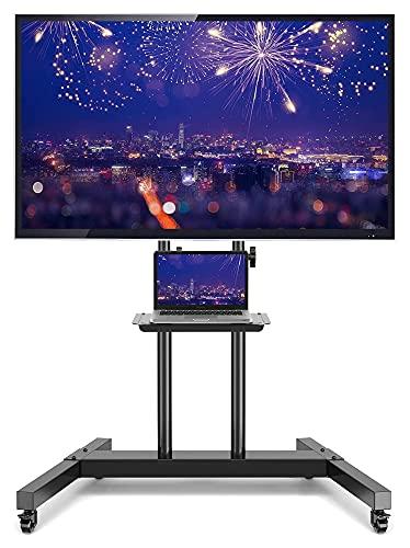 Soporte de soporte para TV con ruedas para televisores de pantalla plana de 32 a 65 pulgadas con estante de metal ajustable en altura (color negro)
