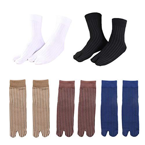freneci 5 Paar Elastische Baumwolle Flip Flops Sandale 2 Zehensocken Gestreifte Tabi Socken