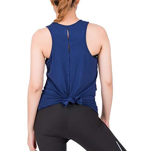 LOFBAZ Camisetas de entrenamiento para mujer, yoga, gimnasio, sin mangas, ropa atlética - azul - Large