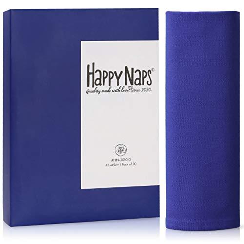 HappyNaps® Servilletas de Tela Azul, servilletas de Tela 100% algodón, 45x45cm [Juego de 10], servilleta de Tela Azules Lavable hasta 60°C, decoración de Mesa | 100% Libres de plástico