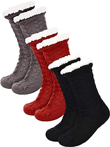 SATINIOR 3 Pares de Calcetines de Mujer Cálidos Calcetines Borrosos Navideños Calcetines Antideslizantes con Forro Polar (Negro, Gris y Rojo)