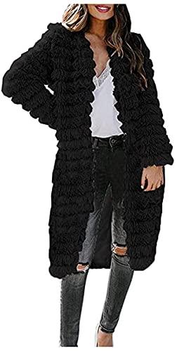 BUTERULES Women's Faux Shearling Fluffy Jacket V-Neck Solid Long Outerwear Tops Warm Winter Coat Blouse