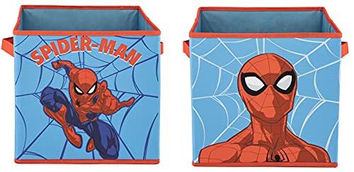 Jay Franco Marvel Spiderman Web Hero 2 contenitori pieghevoli a cubo, organizer pieghevole per bambini con manici (prodotto ufficiale Marvel)