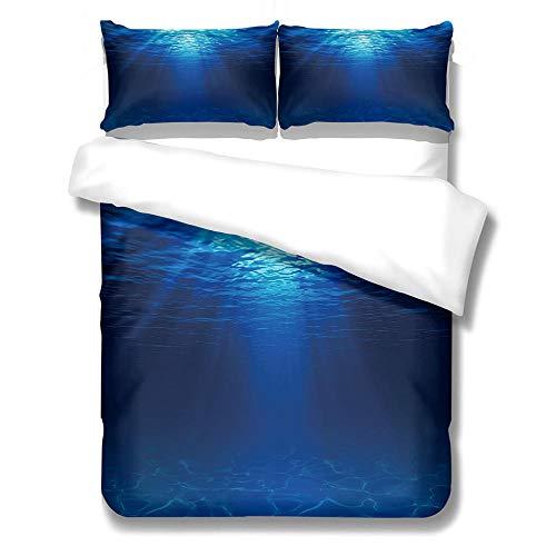 GloEnjoy 3D Digital Printing Three Piece Bedding Set with 2 Pillowcases, Quilt Cover with Zipper Closure for Bedding Decro, Ultra Soft Microfiber - 3D Deep sea,King Size 230 x 220cm