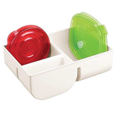 mDesign Organizador de Tapas con 3 Compartimentos – Cesta de almacenaje de plástico para ordenar Tapas – Cestas...