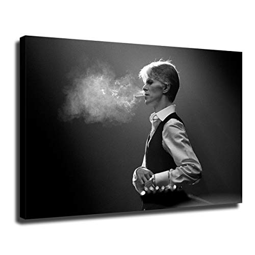 MIKE David Bowie Smoking Print Poster Wall Art Canvas Print Drawing Decor for Living Room Bedroom -544 (with Framed,12x18 inch)