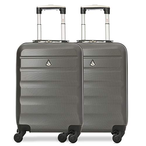 Aerolite 55x35x20cm Lightweight ABS Hard Shell Travel Carry On Cabin Hand Luggage Suitcase - Set of 2