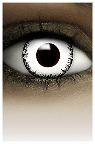 FXCONTACTS Farbige Halloween Kontaktlinsen weiß VAMPIR, weich, 2 Stück (1 Paar), Ohne Sehstärke