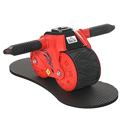homcom AB Wheel Attrezzo per Allenamento Addominali, Impugnature Antiscivolo e Tappetino per Ginocchia, 40x25x16cm Rosso