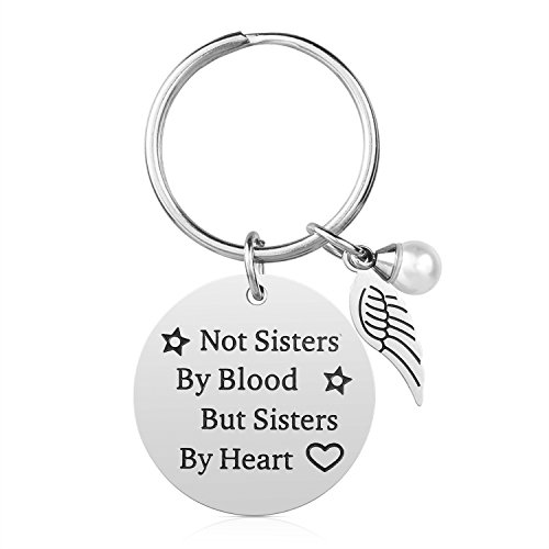 Not Sisters by Blood but Sisters by Heart Friendship Keychain for Women Teen Girls Best Friend Gifts for Birthday Graduation Christmas