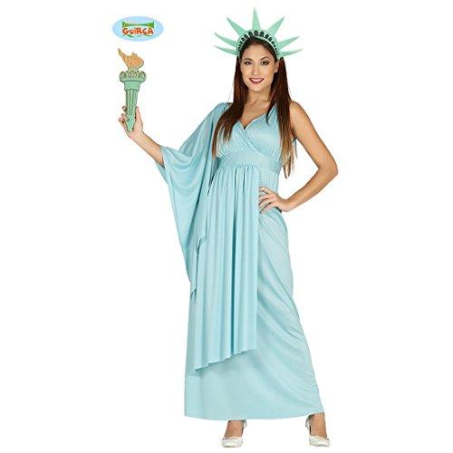Amakando Freiheitsstatue Damenkostüm - M (38/40) - Statue of Liberty Kleid Amerika Verkleidung USA Griechinkostüm Antike Wahrzeichen New York Freiheitsstatue Kostüm