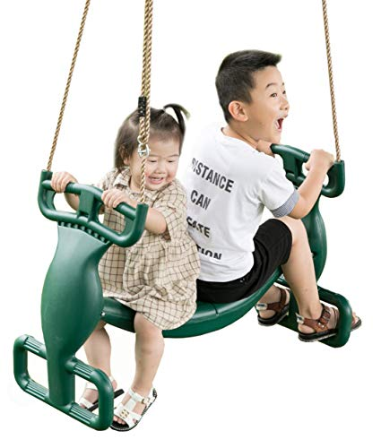 PLAYBERG Plastic Double Glider Playground 2 Person Swing, Green (QI003582G)