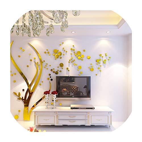 Bernice Winifred Spiegel 3D Wandaufkleber Kristall Acryl Wandtattoos Baum Sofa Hintergrund Aufkleber Wohnzimmer Tapete Hauptdekorationen Aufkleber golden Links XL ca. 3 4x2 2m