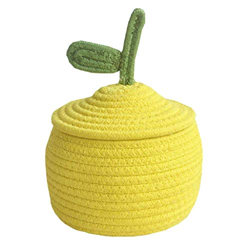 NXYJD Small Cotton Rope Storage Basket with Lid, Cute Small Storage Basket Woven Basket Candy Baskets Desk Storage Basket (Color : Yellow)