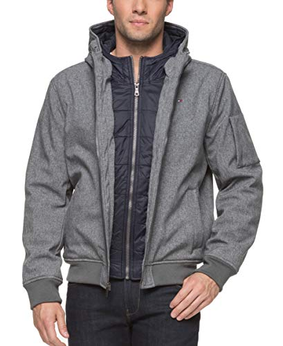 Tommy Hilfiger Men's Big Soft Shell Fashion Bomber with Contrast Bib and Hood, Heather Grey, 4X