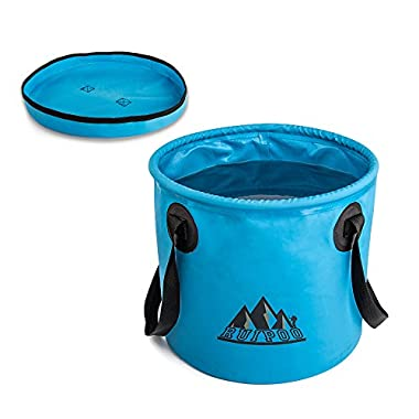 Collapsible Bucket Portable Water Container Bucket Compact with Lid , for Camping,Travel , hiking, fishing ,boatingand and Gardening 2.4 Gallon (Blue)