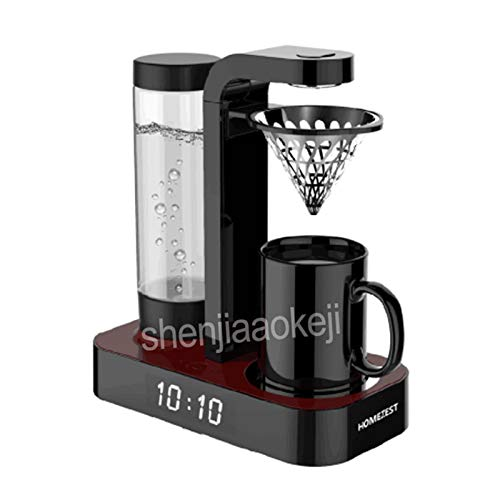 1pc Household Automatic Coffee Machine Clock American Drip Office Mini Coffee Pot Machine Hand Punch Coffee Maker 220v 600w Family Gifts Kitchen Home (Color : Black)