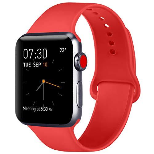 ATUP Cinturino Compatibile per Apple Watch Cinturini 38mm 42mm 40mm 44mm, Cinturino di Ricambio in Silicone Morbido per iWatch Series 4, Series 3, Series 2, Series 1 (06 Orange Red, 38mm/40mm-S/M)