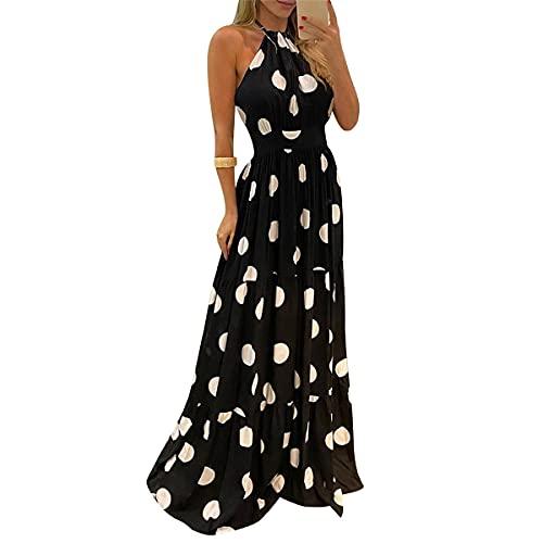 Abito Lungo da Sera Cerimonia Donna Maxi Vestito Senza Maniche Schiena Scoperta con Stampa di Leopardo Farfalle Sexy Elegante Vintage