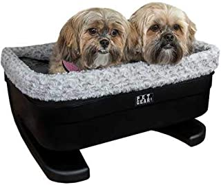Pet Gear Booster Seat for Dogs/Cats, Removable Washable Comfort Pillow + Liner, Safety Tethers Included, Installs in Seconds, No Tools Required, Black/Fog, 20