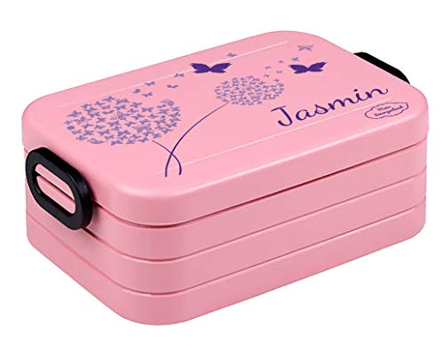 *Mein Zwergenland Bento Brotdose Take A Break midi mit Namen Nordic Pink, Pusteblume Schmetterlinge*