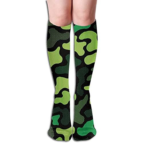 Calcetines de compresión de camuflaje moderno de neón verde para mujeres y hombres, calcetines de tubo largo casual para correr, fútbol, deportes atléticos, vuelo, viajes, 50 cm